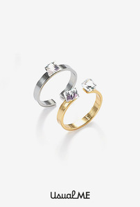 Simple&twins crystal ring set (2 colors)