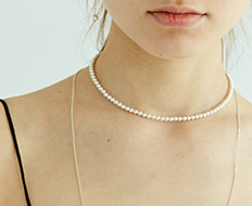 [usual ME] pearl choker with silver simple chain necklace (15%off)
