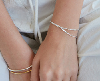 [usual ME] double chain silver bracelet